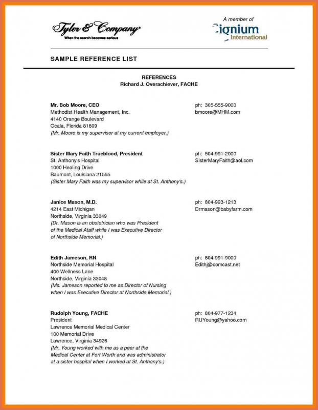 Professional Reference List Template Template Business