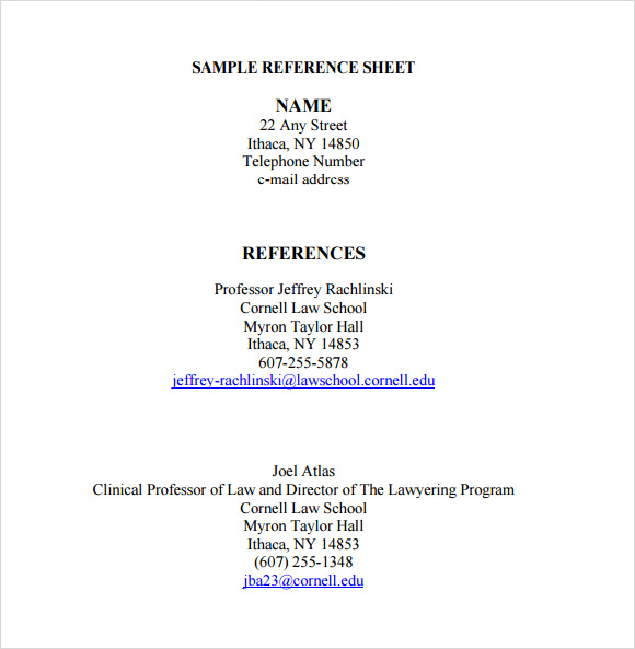 Professional Reference List Template Word Template Business