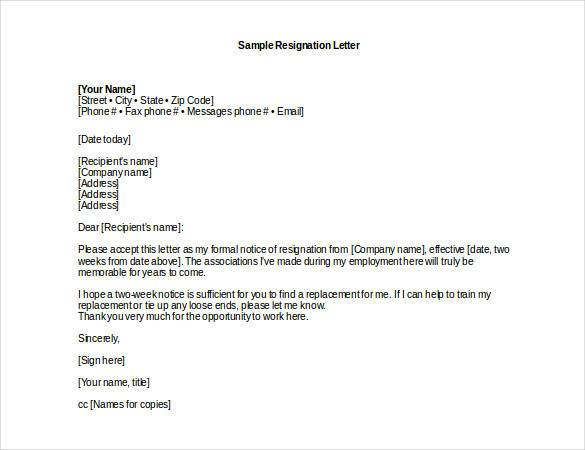 Professional Resignation Letter Sample Template Business