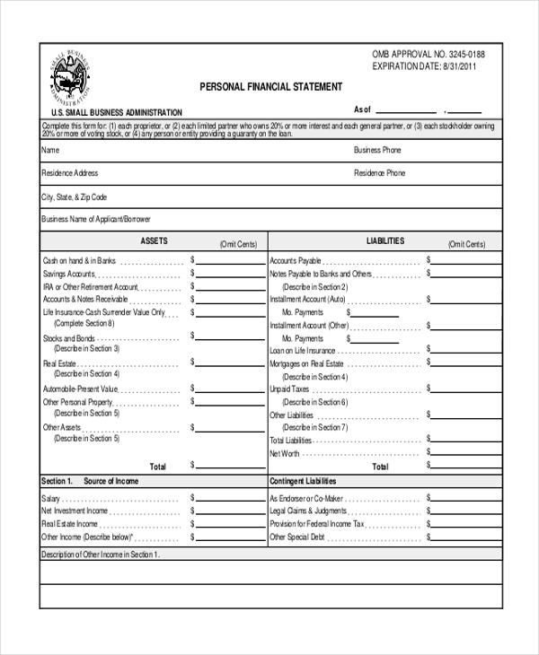 Profit And Loss Statement Form Template Business - personal profit and loss statement template