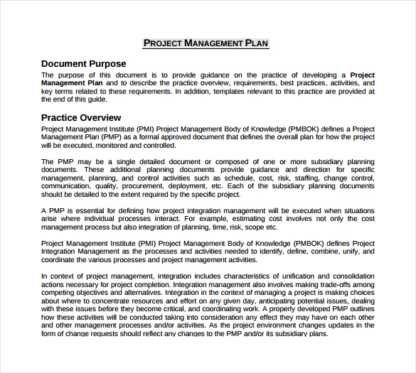 Project Management Plan Example Template Business - project schedule management plan template