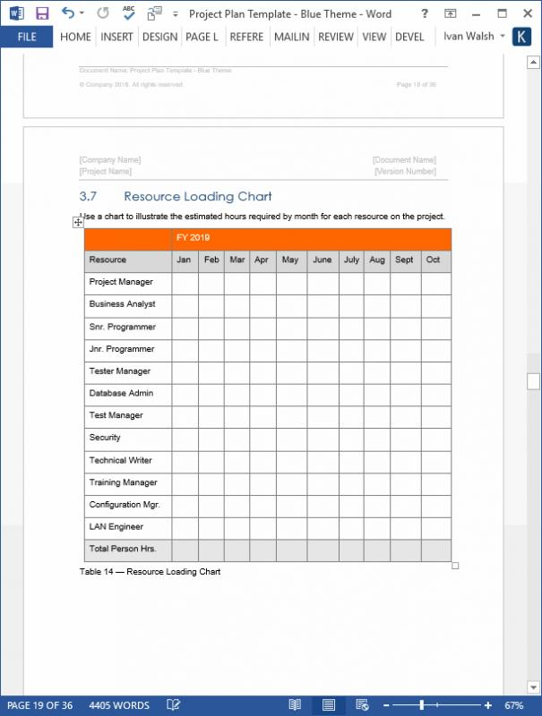 Project Plan Template Word Template Business