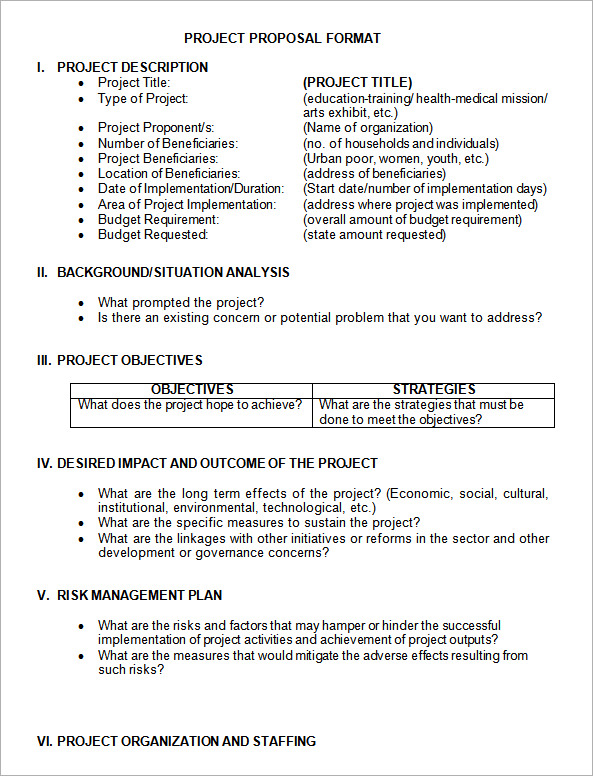 Project Proposal Format Template Business - Sample Proposal Template For Project