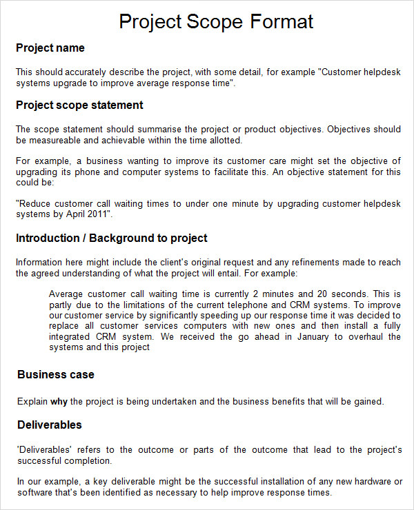 Project Scope Example Template Business - business case examples free