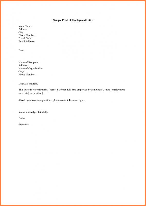 Proof Of Income Letter From Employer Template Business