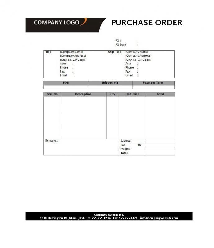 Purchase Order Template Word Template Business