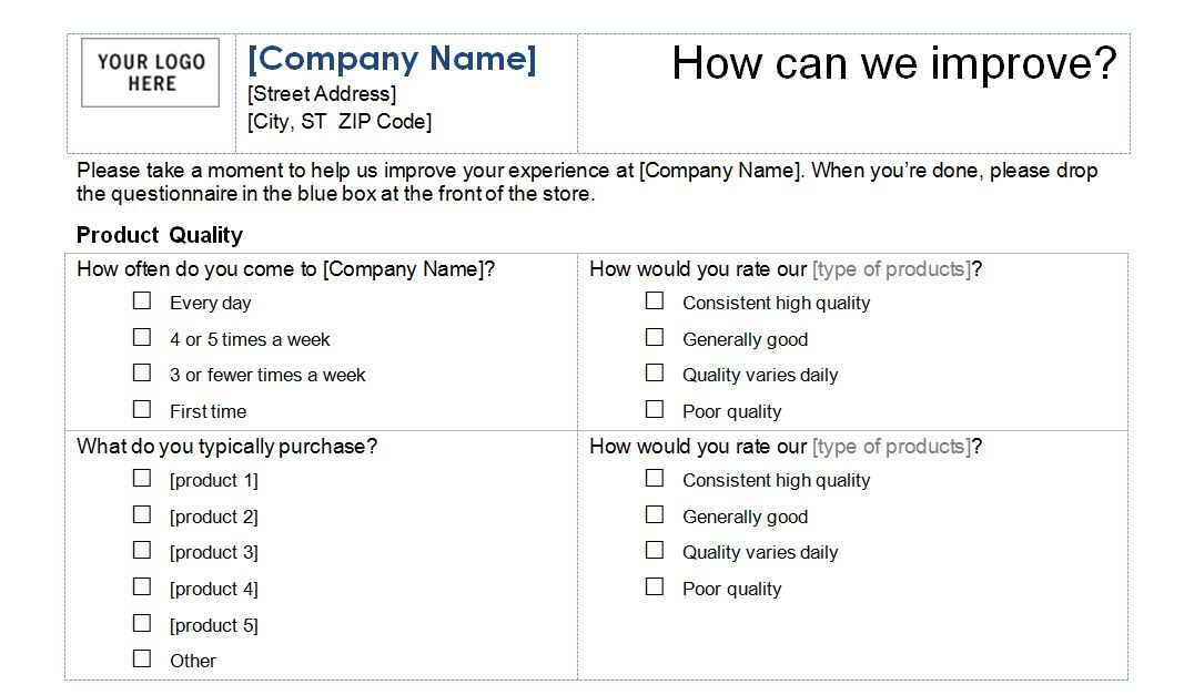Questionnaires Templates Word Template Business