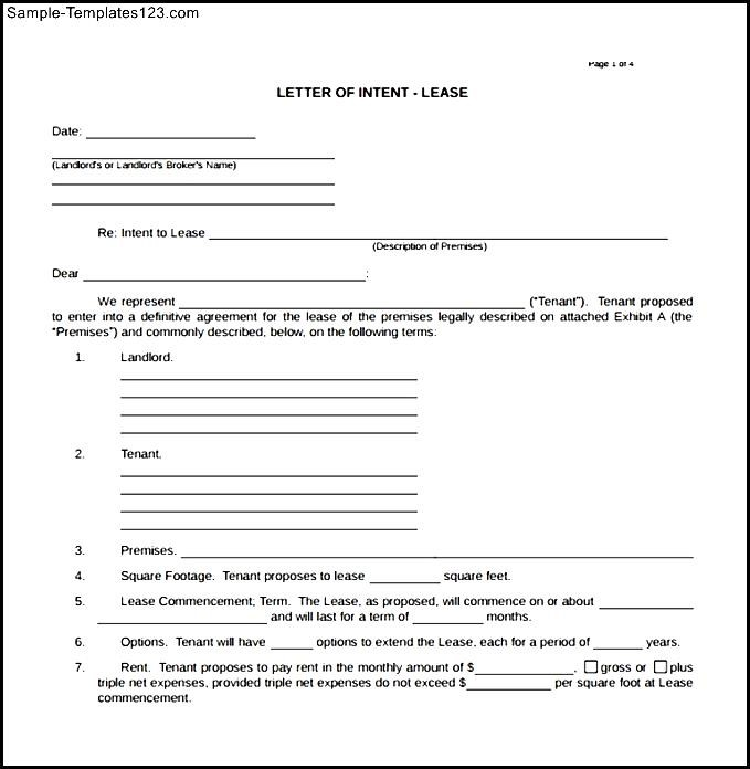 Real Estate Letter Of Intent Template Business