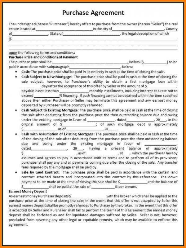 Real Estate Purchase Agreement Template Template Business - real estate purchase agreement template