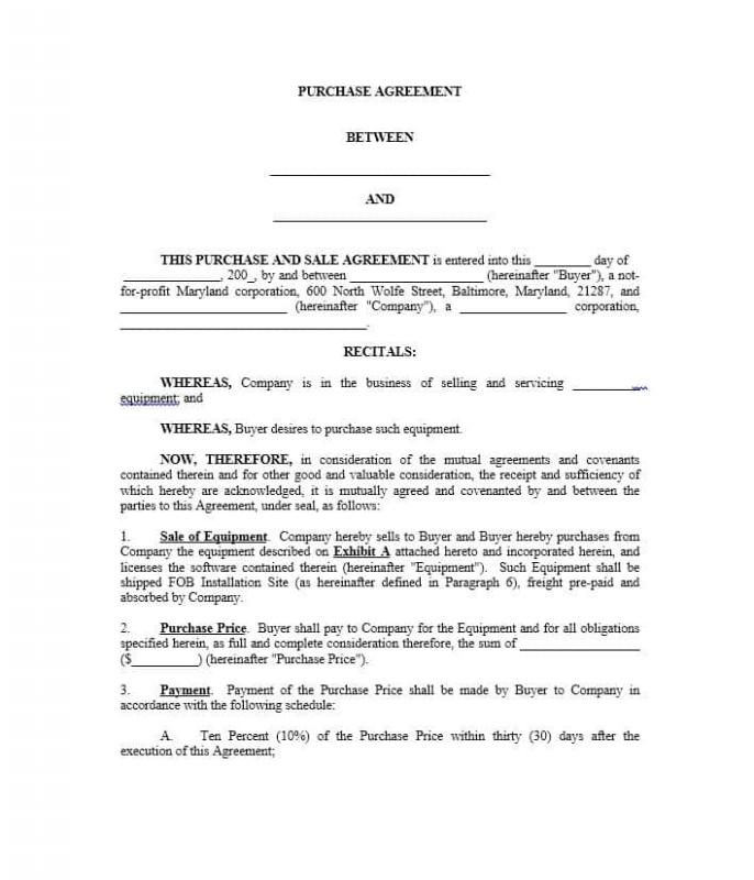 Real Estate Purchase Agreement Template Template Business