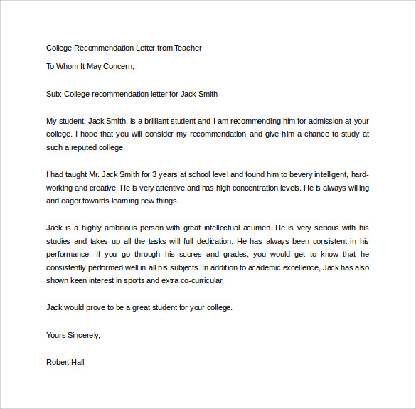 student recommendation letter for college admission - Intoanysearch