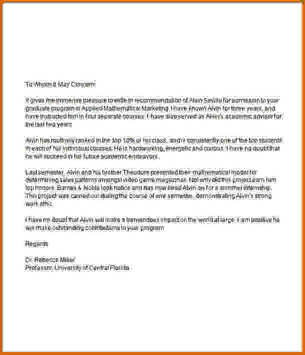 Recommendation Letter For Graduate School Template Business