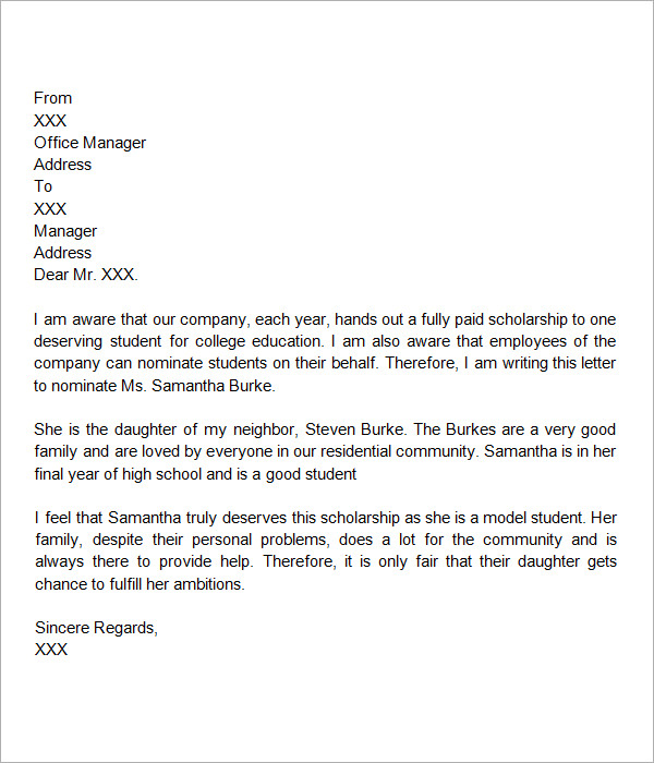 Recommendation Letter For Scholarship Template Business - recommendation letter for student scholarship
