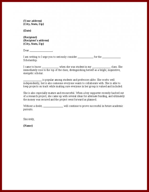 Recommendation Letter For Student Scholarship Template Business