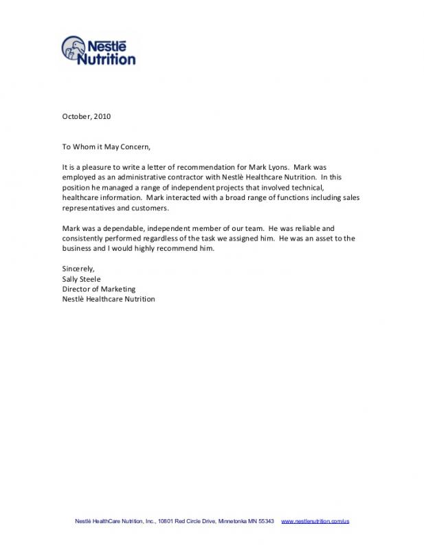 Recommendation Letter Format Template Business - how to format a reference letter