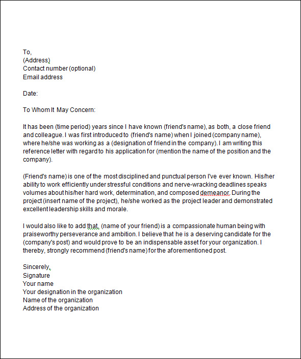 Recommendation Letter Template Template Business - recommendation letter