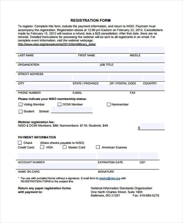 Registration Form Template Free Template Business