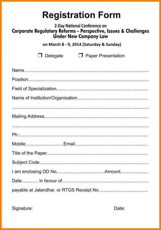 free registration forms template - Bire1andwap