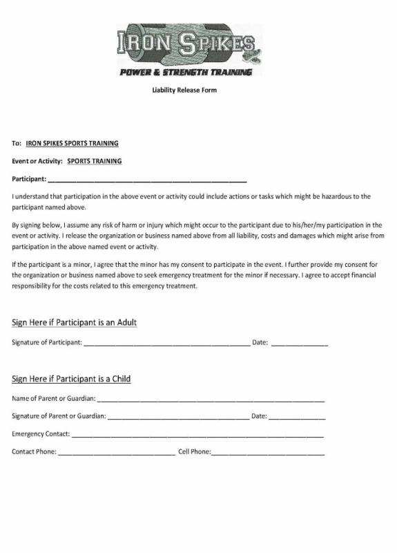 Release Of Liability Form Template Template Business