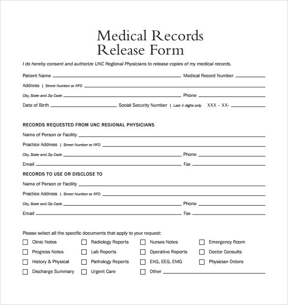 medical records release template - Ozilalmanoof - medical release of information form template