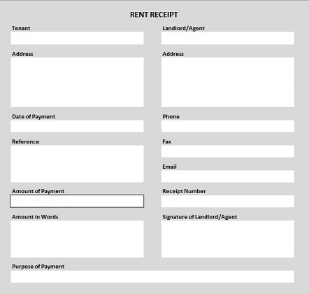 Rent Receipt Form Template Business