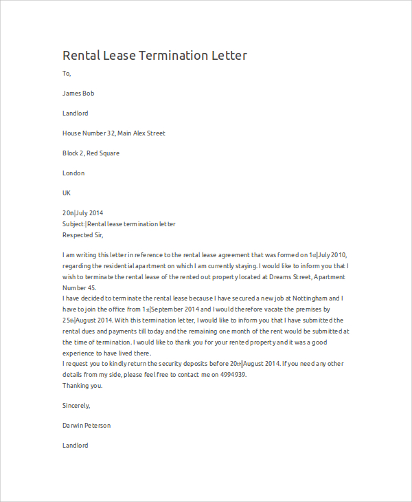 Rental Termination Letter Template Business