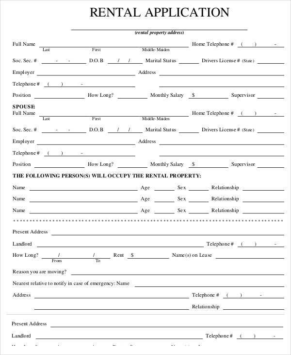 Renters Application Form Pdf Template Business