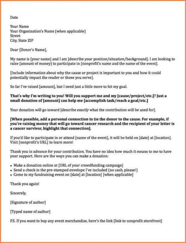 Request For Donations Letter Template Business