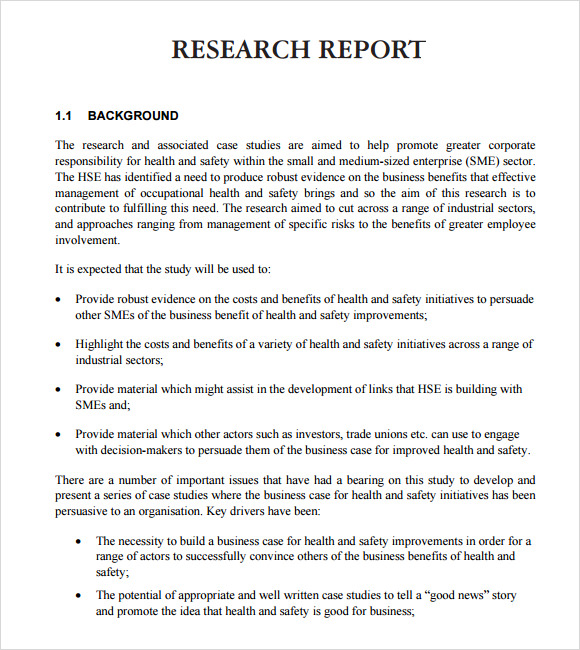 Research Report Writing Examples - Example of a Research Paper