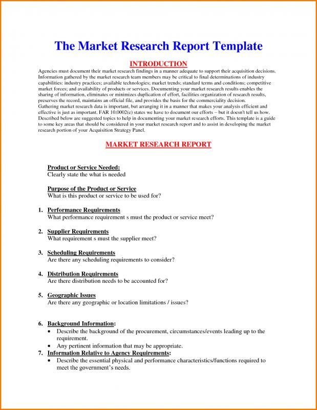 Research Report Template Template Business