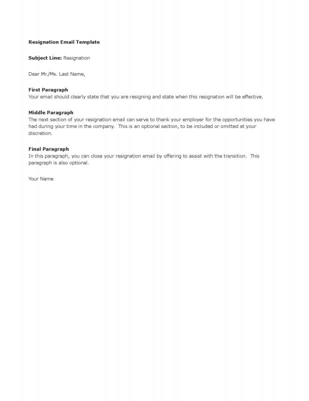 Resign Email Template Template Business