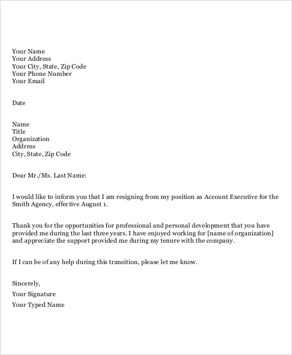 Resignation Letter Templates Free Template Business - free resignation letter