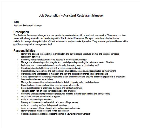 Restaurant Manager Job Description Template Business
