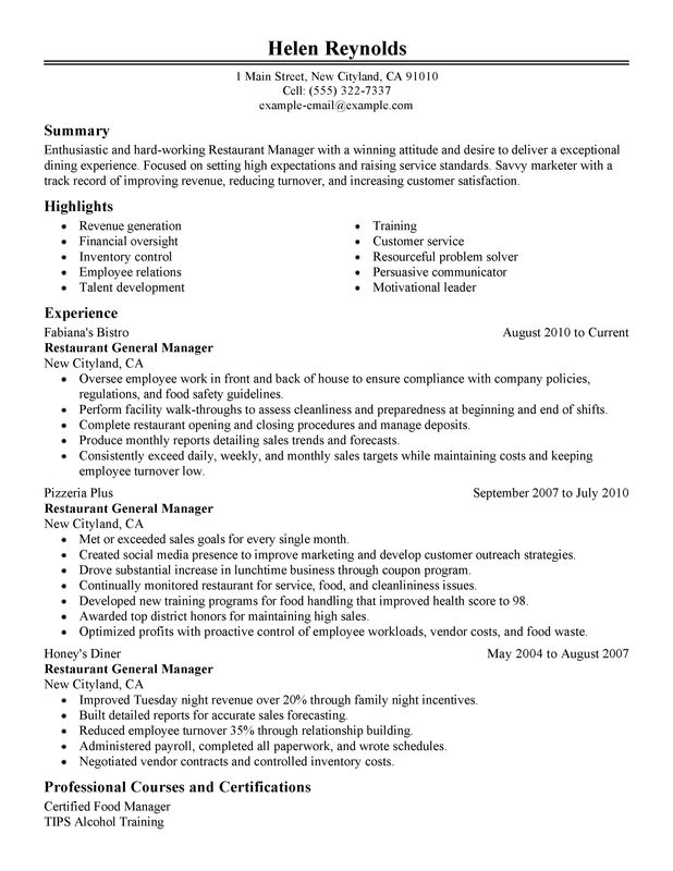 Restaurant Manager Resume Template Business