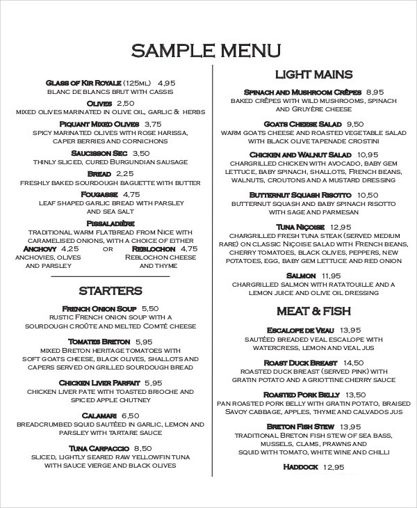 menu samples - Alannoscrapleftbehind - restaurant menu project examples