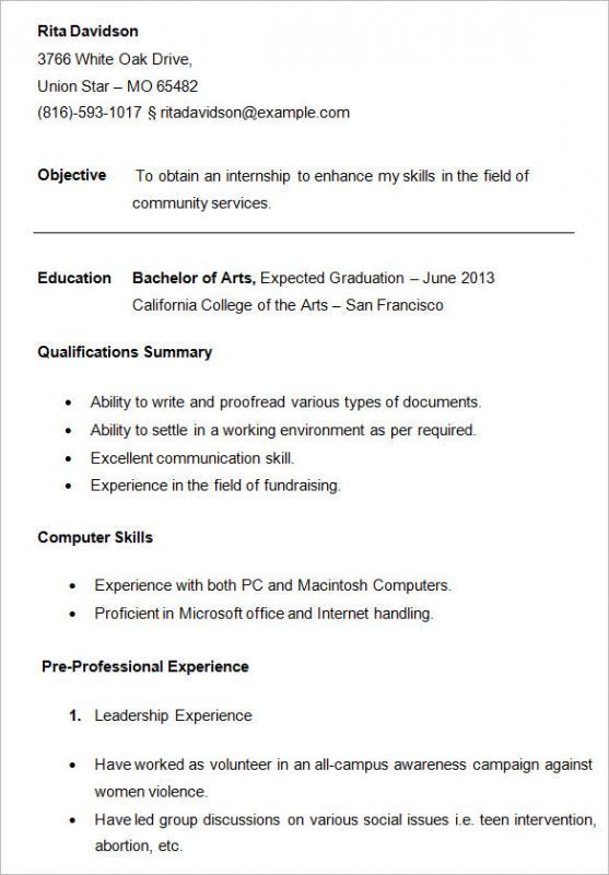 Resume For Freshman College Student