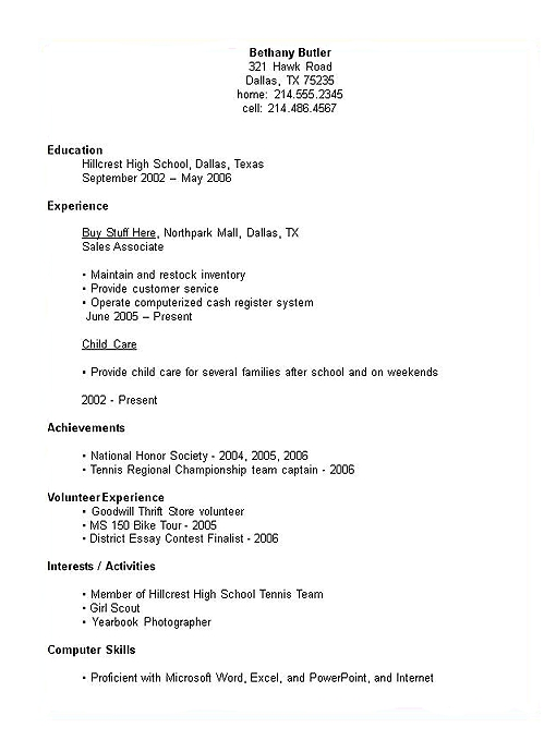 Resume For High School Student Template Template Business
