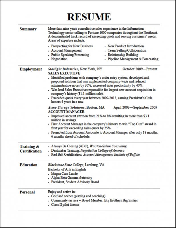 Resume Format For College Students Template Business