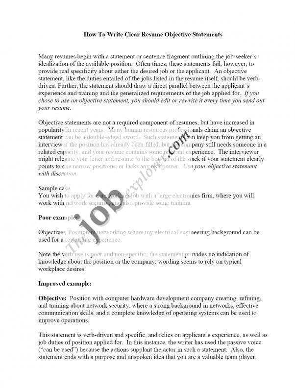 Resume Objective Sample Template Business