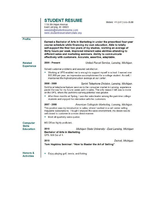 Resume Objective Sample Template Business - sample resume without objective