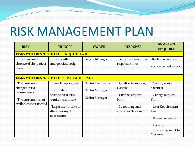 Risk Management Plan Example Template Business