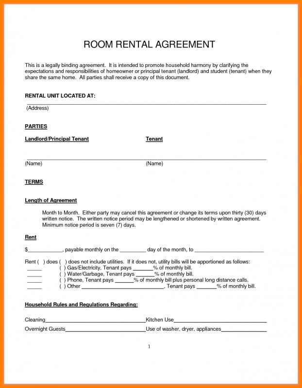 Room Rental Agreement Pdf Template Business