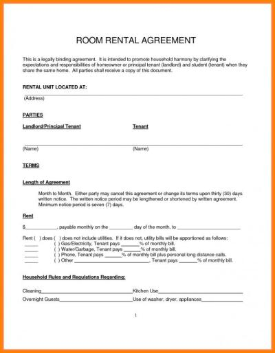 Room Rental Agreement Pdf | Template Business