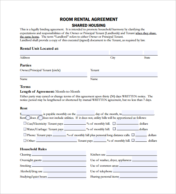 Room Rental Agreement Shared Housing Template Business