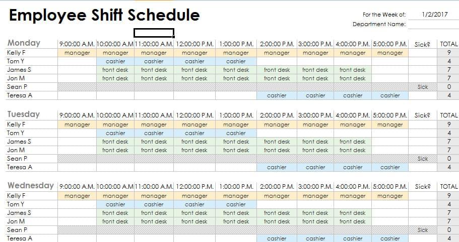Rotating Shift Schedule Template Business - work shift calendar template