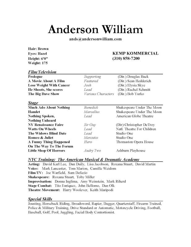 Sample Acting Resume Template Business - actors resume samples