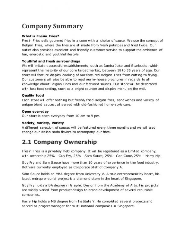 Sample Business Plan Outline Template Business