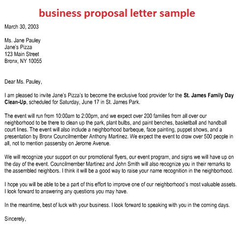Sample Business Proposal Template Business - example business proposal letter