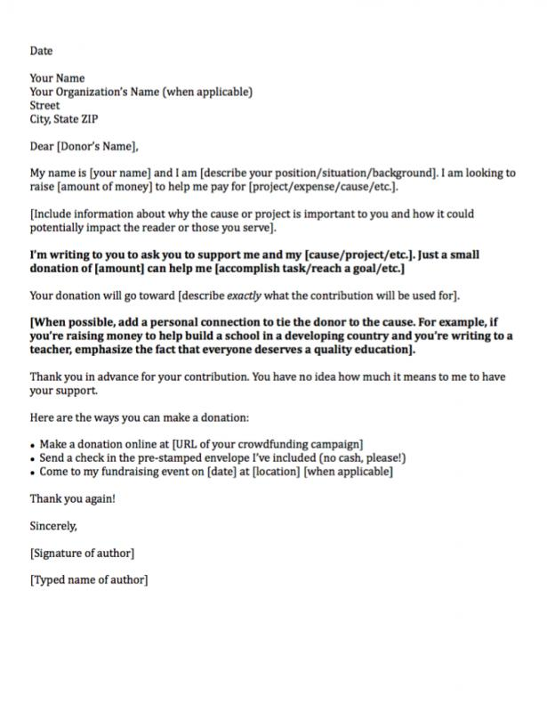Sample Donation Request Letter Template Business