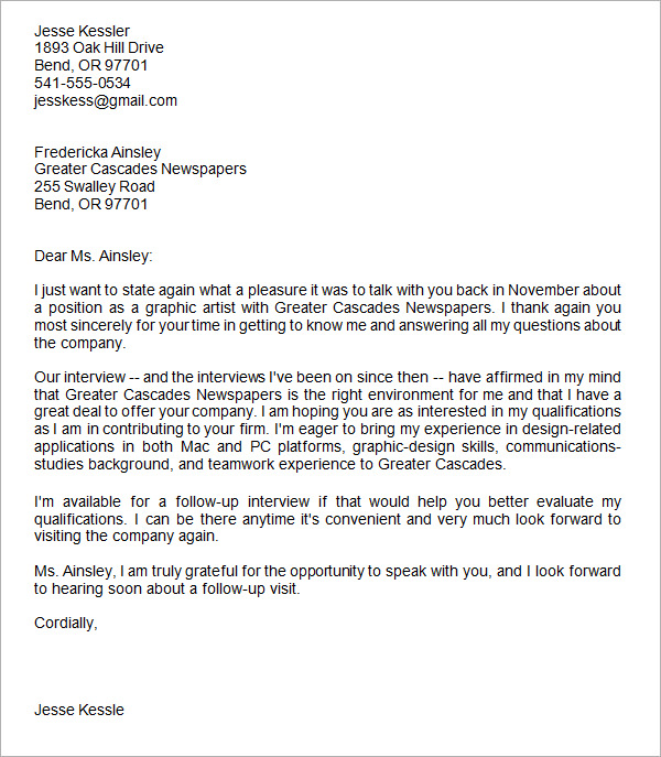 Sample Email After Interview Template Business - thank you letter after job interview